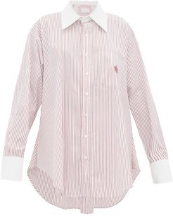 Logo-embroidered Striped Cotton-poplin Shirt - Womens - Red White