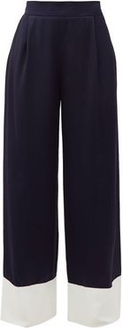 Tr Raynor High-rise Satin Palazzo Trousers - Womens - Navy White