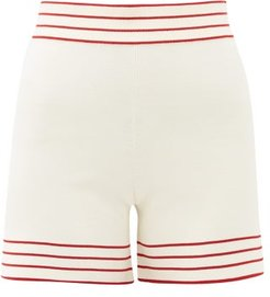 Libertie High-rise Knitted Shorts - Womens - White Multi