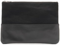 Canvas And Leather Pouch - Mens - Black