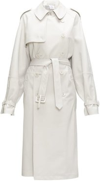 Double-breasted Leather Trench Coat - Womens - Light Grey