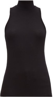 High-neck Ribbed-jersey Top - Womens - Black