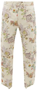 Fairy-print Cotton Gabardine Trousers - Mens - Cream