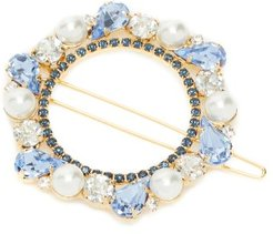 Faux-pearl And Crystal-embellished Barrette - Womens - Blue