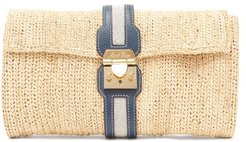 Sylvette Leather-trimmed Raffia Clutch - Womens - Beige Multi