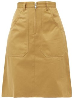 Anna Cotton-twill Skirt - Womens - Beige