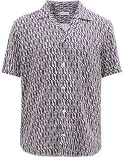 Elaurd Geometric-print Poplin Shirt - Mens - Navy White