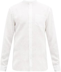 Neville Grandad-collar Linen Shirt - Mens - White