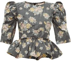 Peplum-hem Floral-jacquard Top - Womens - Black Multi