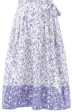 Java Abstract-print Cotton Wrap Skirt - Womens - Blue