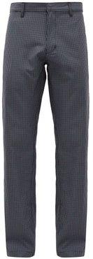 Crestline Micro Houndstooth-check Cotton Trousers - Mens - Navy