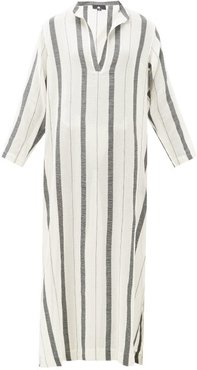Kiku Striped Cotton Kaftan - Womens - Cream Stripe