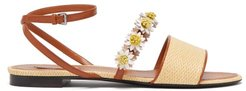 Daisy-appliqué Raffia And Leather Sandals - Womens - Beige