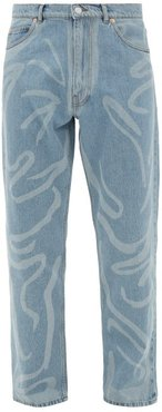 Paint-stroke Straight-leg Jeans - Mens - Light Blue