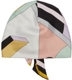 Geometric-print Silk-twill Turban Hat - Womens - Pink Multi