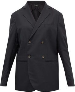 Double-breasted Wool-crepe Blazer - Womens - Black