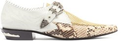 Python-embossed Point-toe Leather Brogues - Womens - Grey Multi