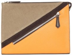 Ff-jacquard And Leather Pouch - Mens - Multi