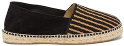 Striped Canvas And Suede Espadrilles - Mens - Navy Multi