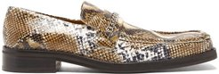 Python-embossed Leather Penny Loafers - Womens - White Multi