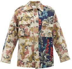 Camouflage & Hibiscus-print Cotton-blend Shirt - Womens - Green Multi