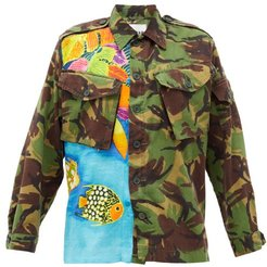 Camouflage Hawaiian-print Cotton-blend Shirt - Womens - Green Multi