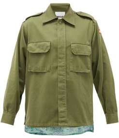 Hawaiian-panel Upcycled Cotton-blend Jacket - Womens - Khaki