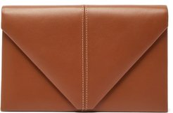 The Envelope Leather Clutch Bag - Womens - Tan