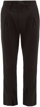 Flared-cuff Pintucked Wool-crepe Trousers - Mens - Black