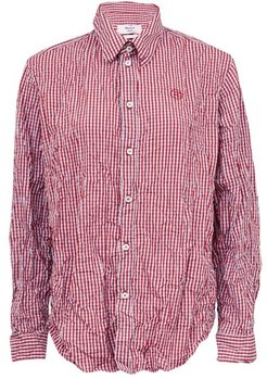 Logo-embroidered Crinkled Checked Shirt - Womens - Red Multi