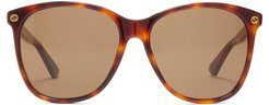 Oversized Square-frame Acetate Sunglasses - Womens - Brown