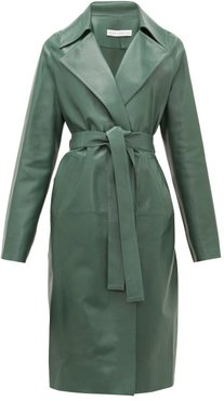 Gustave Notch-lapel Belted Leather Coat - Womens - Dark Green