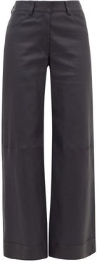 Leather Wide-leg Trousers - Womens - Navy