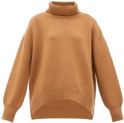 Oversized Roll-neck Cashmere Sweater - Womens - Camel