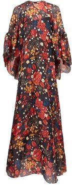 Gallie Floral-print Silk Maxi Dress - Womens - Black Multi