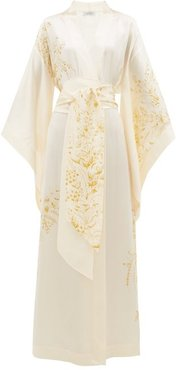Floral-print Silk-satin Robe - Womens - White Print