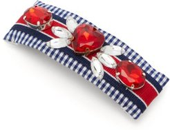 Lucia Crystal-embellished Gingham Hair Clip - Womens - Blue Multi