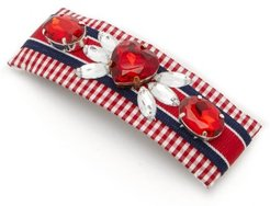 Lucia Crystal-embellished Gingham Hair Clip - Womens - Red Multi