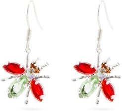 Crystal-embellished Fly-drop Earrings - Womens - Green Red