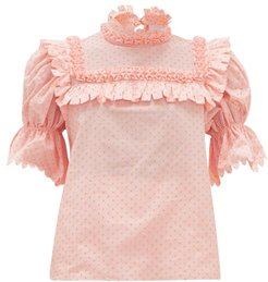 Lucy Fil-coupé Cotton-poplin Blouse - Womens - Pink