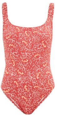 Select Ruched-strap Seahorse-print Swimsuit - Womens - Pink Print