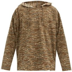 Fish-print Cotton-canvas Hooded Tunic - Mens - Brown