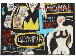 Basquiat Olympia-embroidered Canvas Clutch - Womens - Black Multi