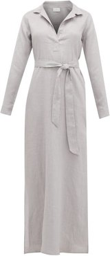 Open-collar Tie-waist Linen Nightdress - Womens - Grey