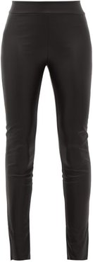 Estella Ankle-slit Faux-leather Leggings - Womens - Black
