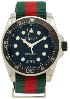 Dive Web-striped Stainless-steel Watch - Mens - Multi