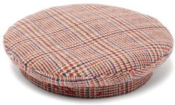 Checked Wool Beret - Womens - Red