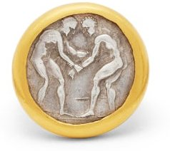 Byzantine-coin 24kt Gold & Silver Signet Ring - Womens - Gold