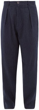 High-rise Pinstriped Cotton-blend Trousers - Mens - Navy
