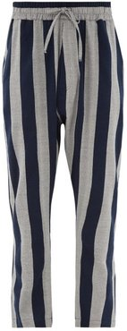 Dropped-rise Striped Cotton-blend Trousers - Mens - Grey Navy